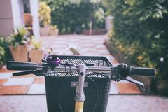 Bicycle with a basket in front stock images