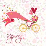 Bicycle with a basket full of flowers. Royalty Free Stock Photo