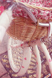 Bicycle. And basket, with pink hearts Stock Images