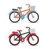 Bicycle with baskets in flat style Royalty Free Stock Photo