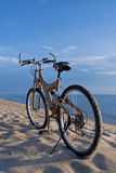 Bicycle at beach Stock Images