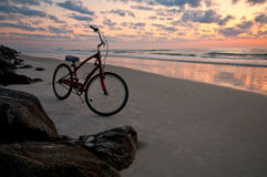 Bicycle in the beach Stock Photos