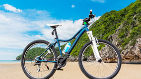 Bicycle and beach on daylight Stock Image