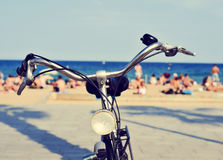 Bicycle in the beach, with a filter effect Royalty Free Stock Photo