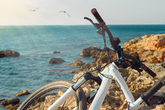 Bicycle on beach near the sea Stock Images
