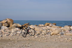 Bicycle on the beach stock images