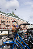 Bicycle in beautiful Stockholm. Close shot of a bycicle in Stockholm Stock Photography