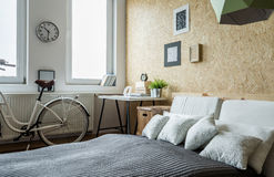 Bicycle in bedroom Stock Photography