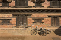 Bicycle in Bhaktapur Durbar Square.  Royalty Free Stock Photos