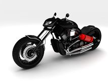 Black classic motorcycle on a white background stock photography