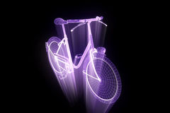 Bicycle Bike in Hologram Wireframe Style. Nice 3D Rendering Stock Photos