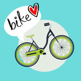 Bicycle with bike love message flat design vector Royalty Free Stock Photos