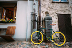 Bicycle Bike Parked Near Old Cannon On Street In Old Part European Town Royalty Free Stock Photography