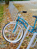 Bicycle at bike rack. Single blue bicycle at college bicycle rack with fall leaves Royalty Free Stock Images