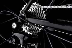 Bicycle bike rear derailleur gear casette chain detail black dar stock photo
