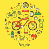 Bicycle and Biking Thin Line Icons Set with Bike and Cyclist Royalty Free Stock Photo