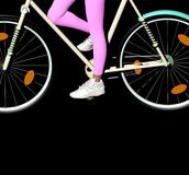 Bicycle on black. Girl riding a bike over a black background, only the girls legs are visible, 3D illustration, raster illustration Royalty Free Stock Images