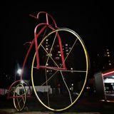 Bicycle on a black background at night. Travel to Ukraine. Retro bicycle royalty free stock photography