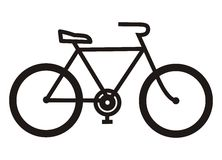 Bicycle, black silhouette Royalty Free Stock Photos