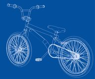 Bicycle bmx. 3d rendering. Wire-frame style on blue background Royalty Free Stock Photos