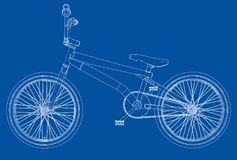 Bicycle bmx. 3d rendering. Wire-frame style on blue background Royalty Free Stock Image