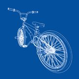 Bicycle bmx. Vector. Rendering of 3d. Wire-frame style. The layers of visible and invisible lines are separated Royalty Free Stock Photography