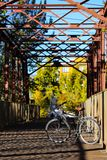 Cruiser bike on a bridge over the Boise River in downtown Boise, Idaho. Bicycle on a Boise River bridge in the stock image