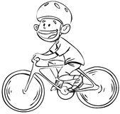 Bicycle boy in black and white. Vector illustration of a boy riding a bike isolated on white Royalty Free Stock Images