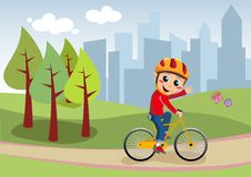 Bicycle Boy in the City Park Royalty Free Stock Photography