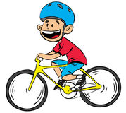 Bicycle boy in color. Vector illustration of a boy riding a bike isolated on white Royalty Free Stock Image