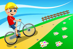 Bicycle Boy Going Uphill. Illustration featring a boy riding his bike uphill outdoor. You can find different kids or children playing sports in my portfolio. Eps Royalty Free Stock Image