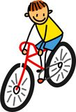 Bicycle Boy. Whimsical cartoon illustration of a happy little boy riding a bicycle stock illustration