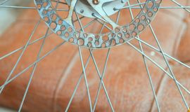 Bicycle brake disc, rusted unused Royalty Free Stock Image