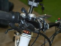 Bicycle brake system. Mountain bike rudder with handles for steering royalty free stock photography