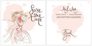Wedding invitation with the back. stock illustration