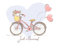 Bicycle for the bride. Wedding card - a bicycle for the bride Stock Image