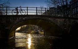 Bicycle on a bridge Royalty Free Stock Photography