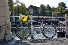 Bicycle on a bridge in Holland Royalty Free Stock Images
