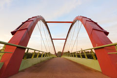 Bicycle bridge. Near a big road Stock Photography