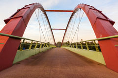 Bicycle bridge. Near a big road Royalty Free Stock Photography