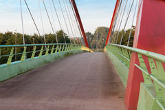 Bicycle bridge. Near a big road Royalty Free Stock Images