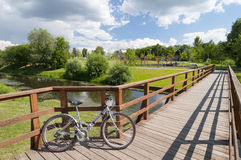 Bicycle on the bridge Stock Photography