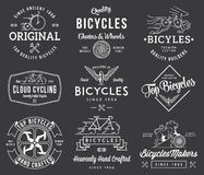 Bicycle Builders set 1 white on black Stock Photo