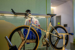 Bicycle built by Graeme Obree scottish cyclist and holder of many speed records Royalty Free Stock Photo