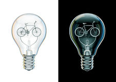 Bicycle bulb concept. 3D illustration of bicycle as filament inside light bulb Stock Photo
