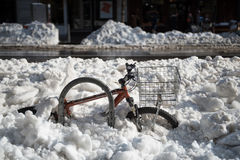 Bicycle Buried in Deep Snow After Blizzard Stock Photos