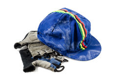 Bicycle Cap and gloves on white background  : Clipping path included. Stock Photography