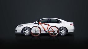 Bicycle and car. Illustration of red bicycle with white car on dark background vector illustration