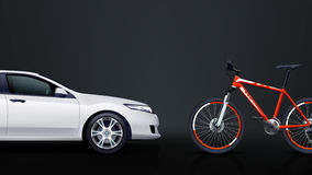 Bicycle and car 01 Royalty Free Stock Photos