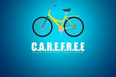 Bicycle in Carefree Background. Illustration of bicycle in motivational carefree background Stock Image